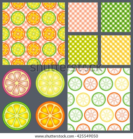 Hello summer. Bright citrus and flat pattern. Design for fabric textile, kitchen design, summer clothes. Lines pattern. Set seamless pattern - stock vector