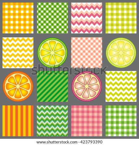 Hello summer. Bright citrus and pattern. Design for fabric textile, kitchen design, summer clothes. Set seamless pattern - stock vector