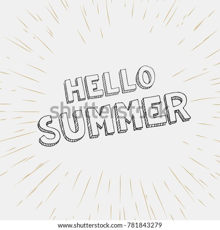 Beautiful Hello Summer Card And Summer Background  Vintage Style
