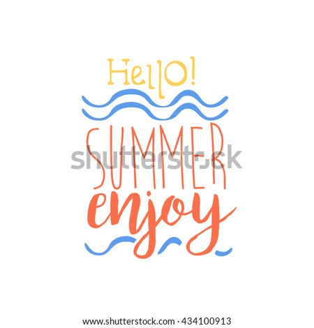 Superbe Hello Summer Colorful Ad. Colorful Summer Beach Holiday Promotion Banner.  Cool Calligraphic Hand Drawn