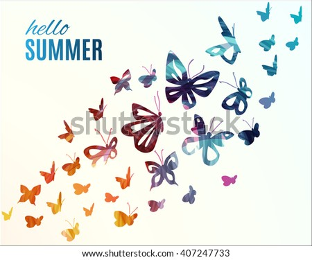 Hello Summer! Colorful flying butterflies background. Vector illustration.