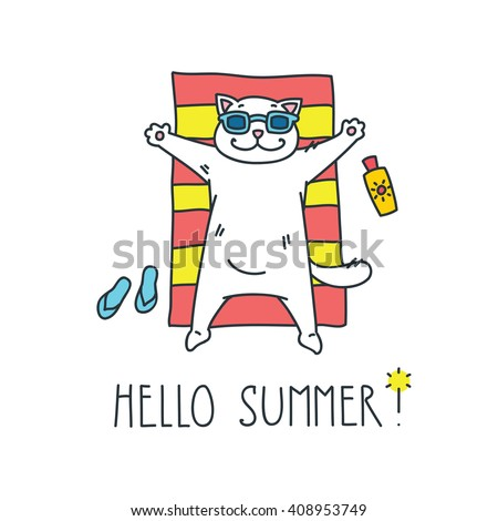 Merveilleux Hello Summer! Doodle Vector Illustration Of Funny White Cat Sunbathing On A  Red And Yellow