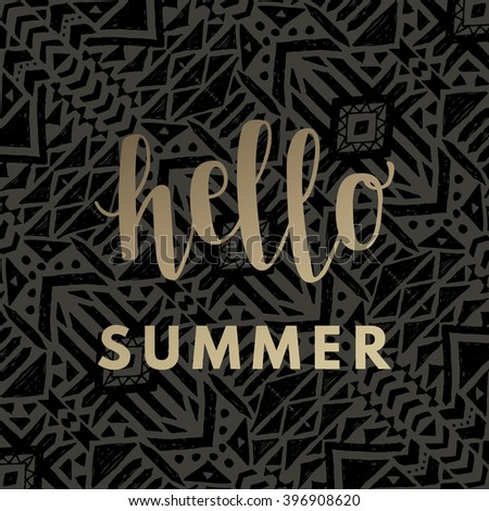 Hello summer gold hipster boho chic background with aztec tribal mexican texture. Minimal printable journaling card, creative card, art print, minimal label design for banner, poster, flyer. - stock vector