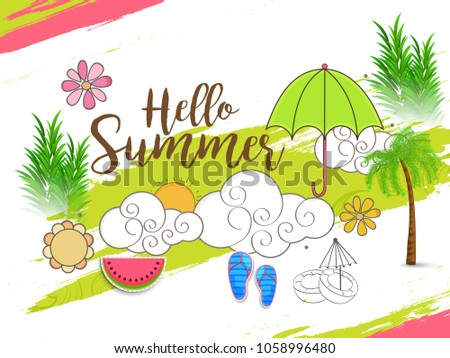 Hello Summer Greeting Card Background.