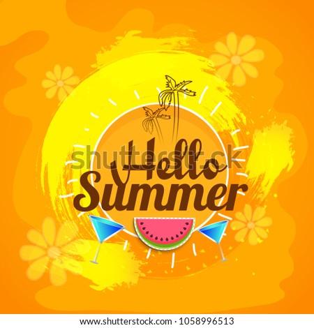 Wonderful Hello Summer Greeting Card Background.