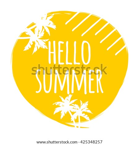 Hello Summer Hand Lettering Background, Summer Banner Background