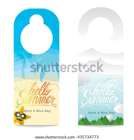 Hello Summer Hand Lettering Summer Vacation Concept Door Hanger Vector Illustration