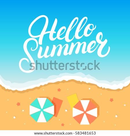 Wonderful Hello Summer Hand Written Lettering On The Beach Background. Vacation.  Beach Holiday. Modern