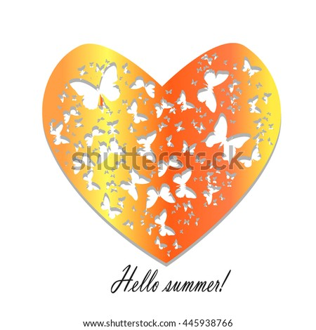 Hello Summer.Heart Of Butterflies Pattern On A White Background For Card,  Valentineu0027s Day