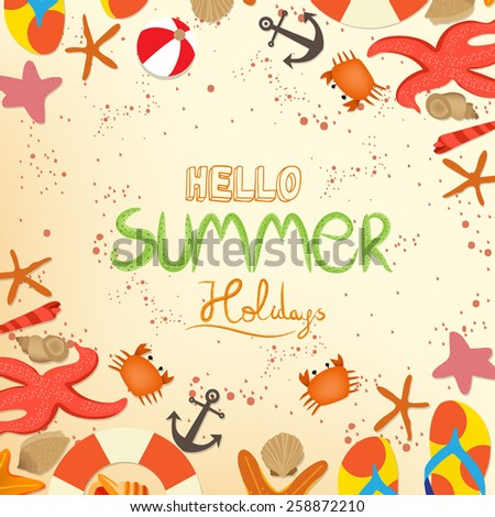 hello summer holidays - stock vector