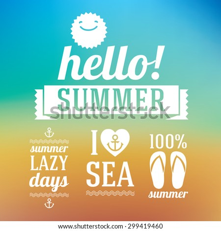 Hello summer icons set about summer and sea. Detailed stylish modern flat vector illustration and design element. - stock vector