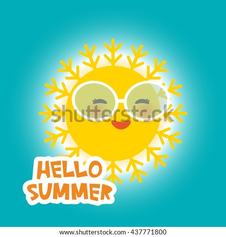 Hello Summer Kawaii Funny Yellow Sun With Sunglasses Pink Cheeks And Eyes  On Blue Sky Background