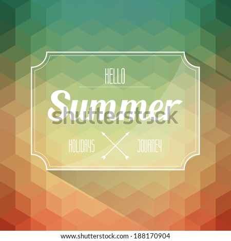 hello summer label on geometry background vector - stock vector