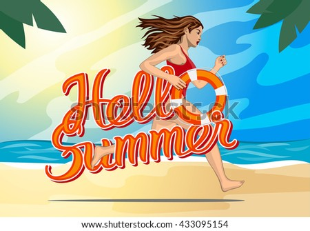 Hello summer lettering and Running woman - lifeguard in a red swimming suit with lifebelt  - stock vector