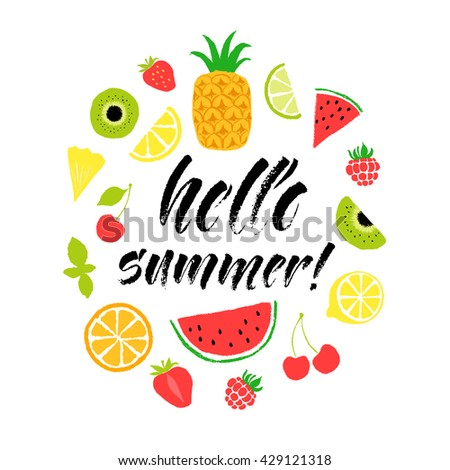 Hello summer lettering card. Hand drawn ink illustration phrase for prints and posters, menu design, invitation and greeting cards. Handwritten modern brush calligraphy