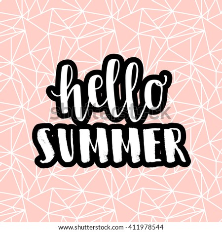 Hello summer pink hipster boho chic background with triangular geometric texture. Minimal printable journaling card, creative card, art print, minimal label design for banner, poster, flyer. - stock vector