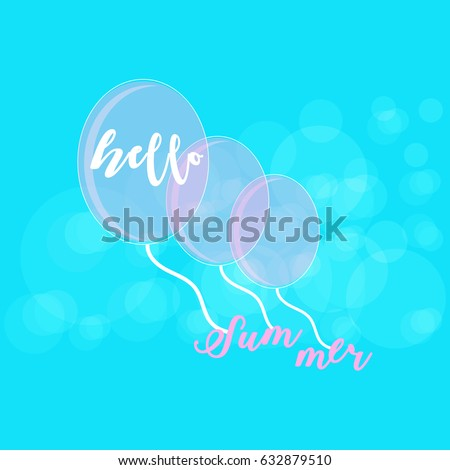 Hello Summer Poster Template. Pink Balloons In A Blue Sky. Vector  Illustration