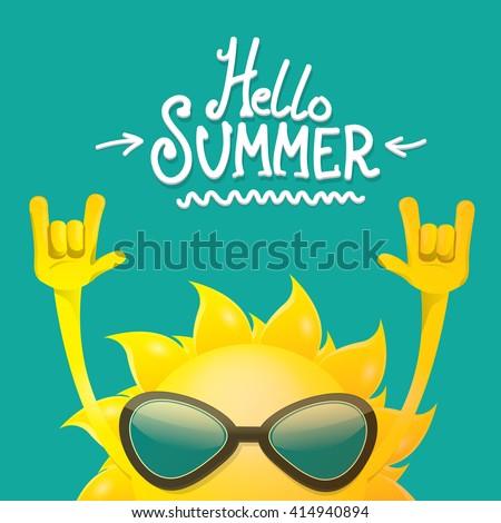 hello summer rock n roll poster. summer party design template - stock vector
