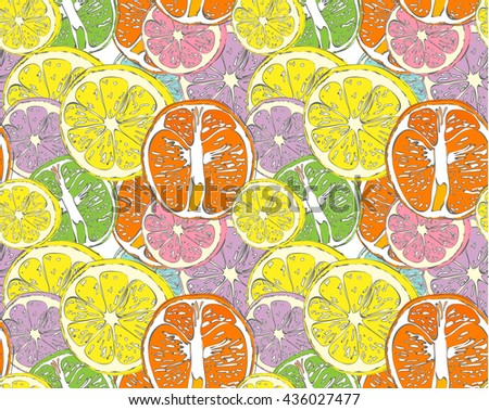 Hello Summer seamless pattern of fruit Inscription orange, lemon. Vector collection summer fruit. Simple color illustration. Schematic picture.