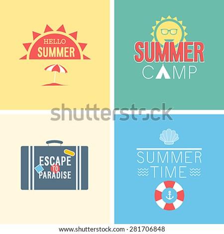 Hello summer set. Vector illustration. - stock vector