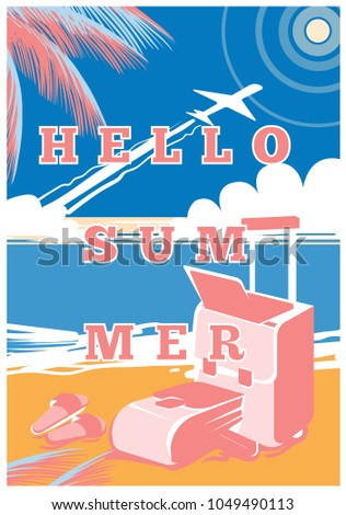 Hello Summer. Summer Holidays And Tropical Vacation Posters Or Greeting Card.  Beach Seashore Banner