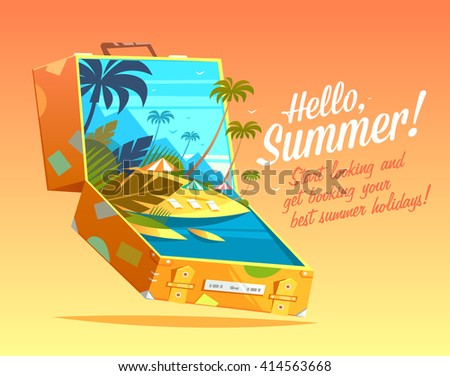 Hello, Summer! Summertime quote. Summer Holidays poster, background with yellow travel suitcase with tropical island in it. Vector Illustration. - stock vector