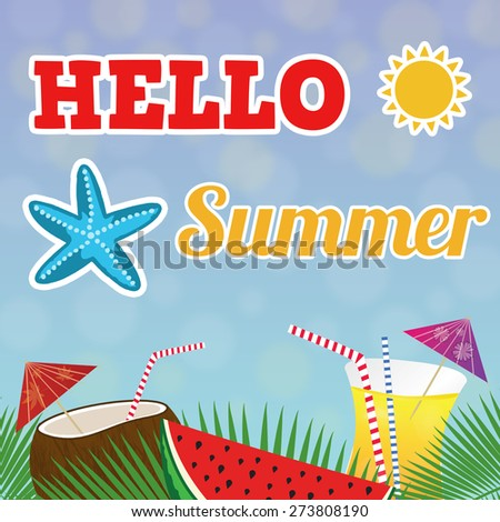 Hello summer tropical poster on blue, vector illustrtation - stock vector