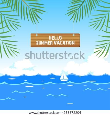 hello summer vacation - stock vector