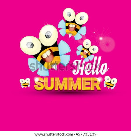 Hello Summer Vector Background With Baby Bee Flying. Kids Background With Funny  Cartoons Bee.