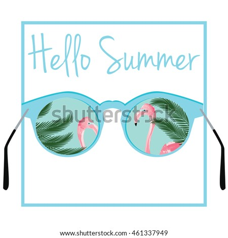 Hello Summer Vector. Sunglasses With Flamingos And Palm Tree Leaves  Background.