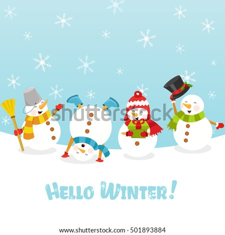 Hello Winter Card With Snowman