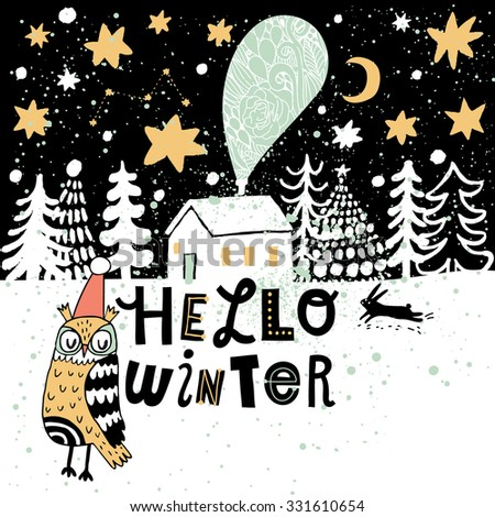 Hello winter concept card in vector. Lovely winter background in stylish colors. Winter composition for cute holiday designs - stock vector