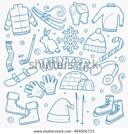 Hello Winter. Hello Holiday. Vector Doodle Winter Symbols. Nice Card For  Printing And