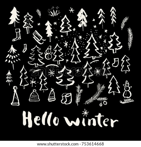 Superieur Hello Winter. Merry Christmas And Holiday Season Calligraphic Hand Drawn  Greeting Card In Black And