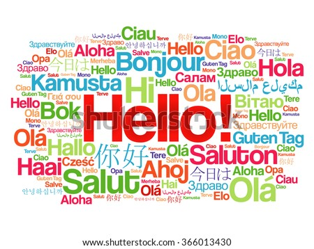 Hello word cloud in different languages of the world, background concept - stock vector