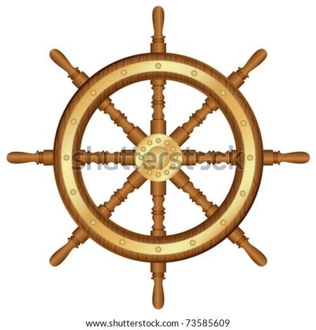 Helm wheel on white background. Vector illustration. - stock vector