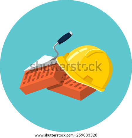 Helmet Bricks and Trowel  - stock vector