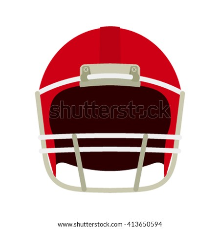 Helmet for game in the American football. Icon in a flat style isolation on a white background. Front view. Sports equipment vector illustration - stock vector