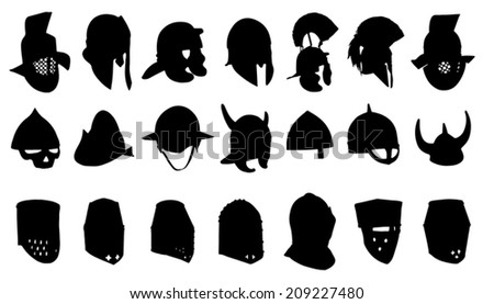 helmet silhouettes on the white background - stock vector