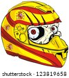 helmet skull and Spain flag - stock photo