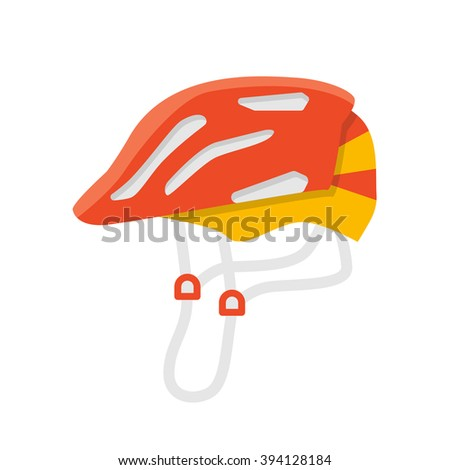 Helmet vector isolated illustration. Protection accessories. Bicycle and skate helmet. Extreme color protection. Flat summer leisure equipment. Helmet icon - stock vector