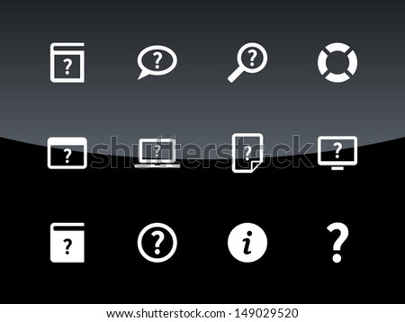 Help and FAQ icons on black background. Vector illustration. - stock vector