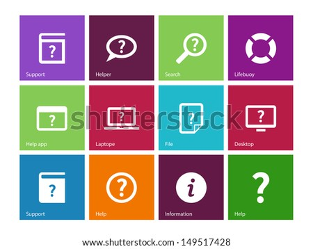Help and FAQ icons on color background. Vector illustration. - stock vector