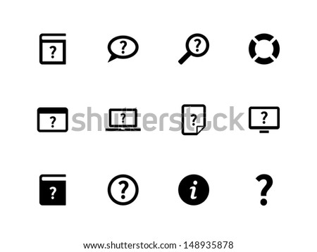 Help and FAQ icons on white background. Vector illustration. - stock vector