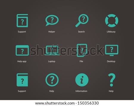 Help and FAQ icons. Vector illustration. - stock vector
