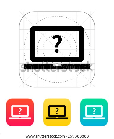 Help and FAQ laptop icon. Vector illustration. - stock vector