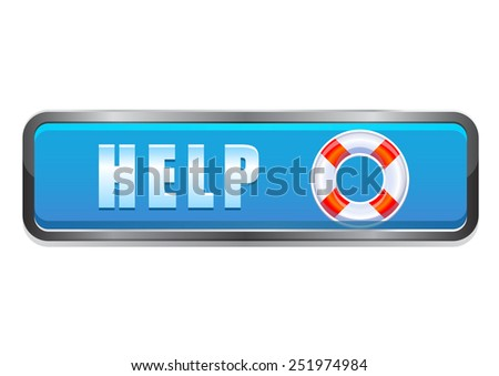 Help and lifebuoy interface button - stock vector
