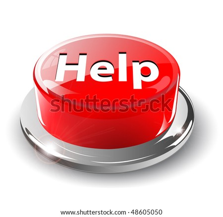 Help button, 3d red glossy metallic, vector.