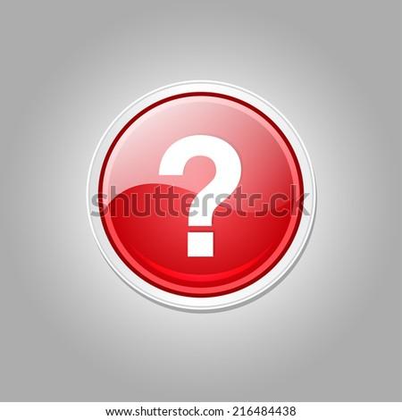 Help Circular Vector Red Web Icon Button - stock vector