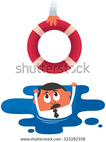 Help: Concept illustration of drowning man receiving help. - stock vector